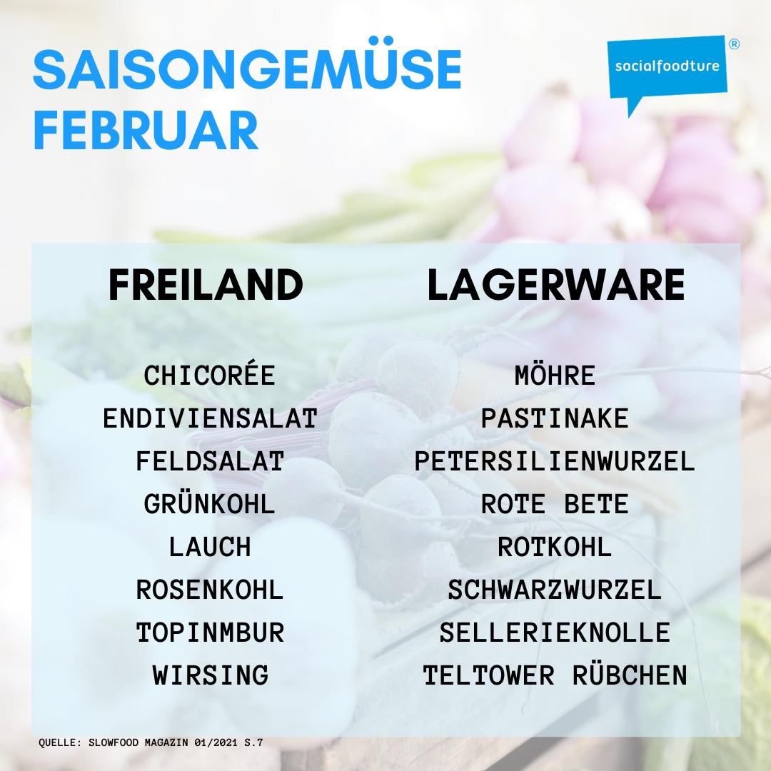 Liste mit Saisongemüse im Februar