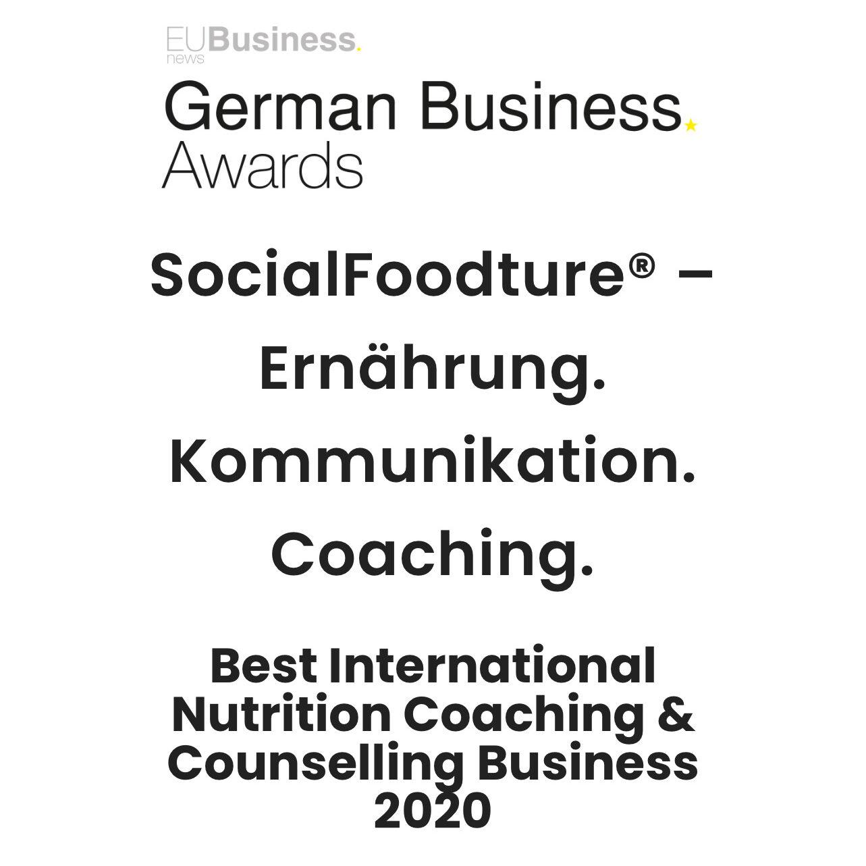 German Business Award 2020 - Best International Nutrition coaching & Counselling Business 2020